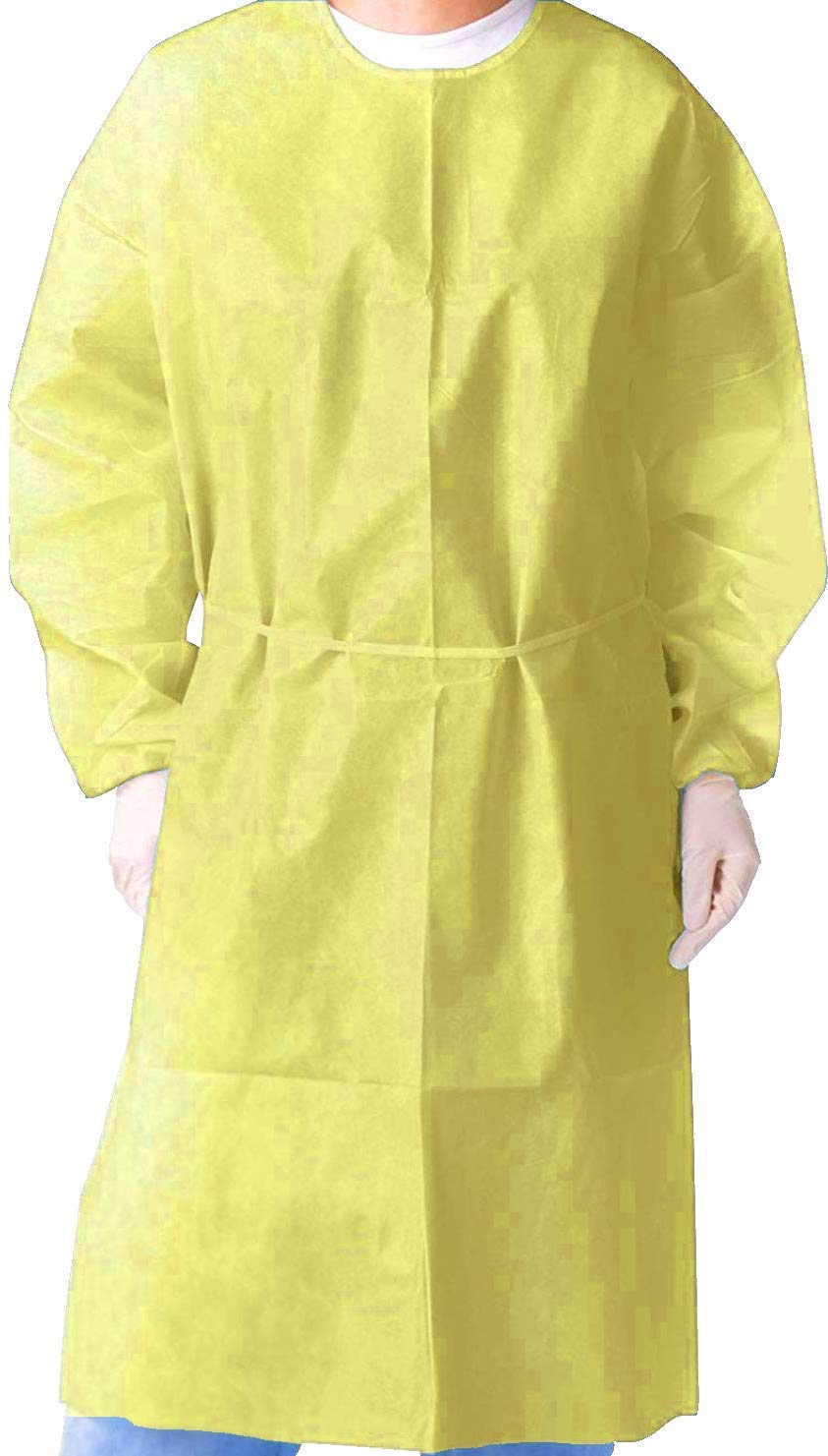 Isolation Gown with Elastic Cuff -Disposable Non-Woven Blue- Case//50 pcs Splash Resistant one size fits all