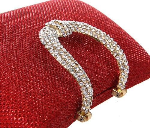 KAXIDY Diamante del Bolso de Embrague del Estuche Rígido de Noche Barnizado de Bodas de Diamante (Champagne) Rojo