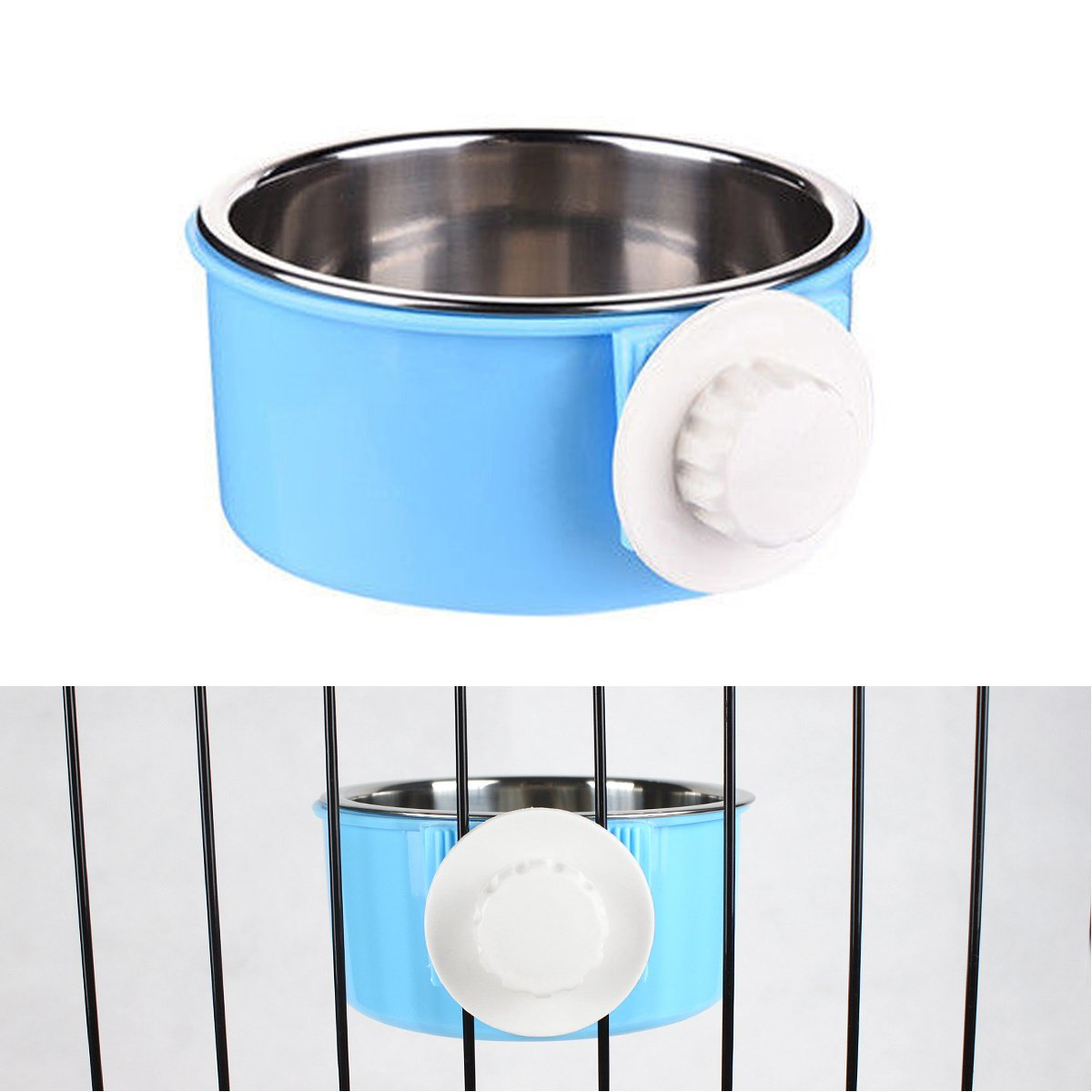 PETLESO Stainless Steel Bowl Dog Crate Bowl Water and Feed Bowl for Pet Dog Cat Bird with Dog Training Clicker - Blue