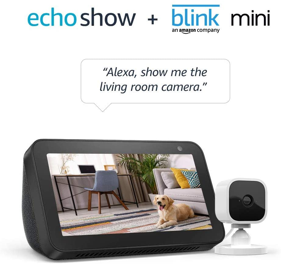 Echo Charcoal 1080p Show 5 and Blink Mini Security Camera
