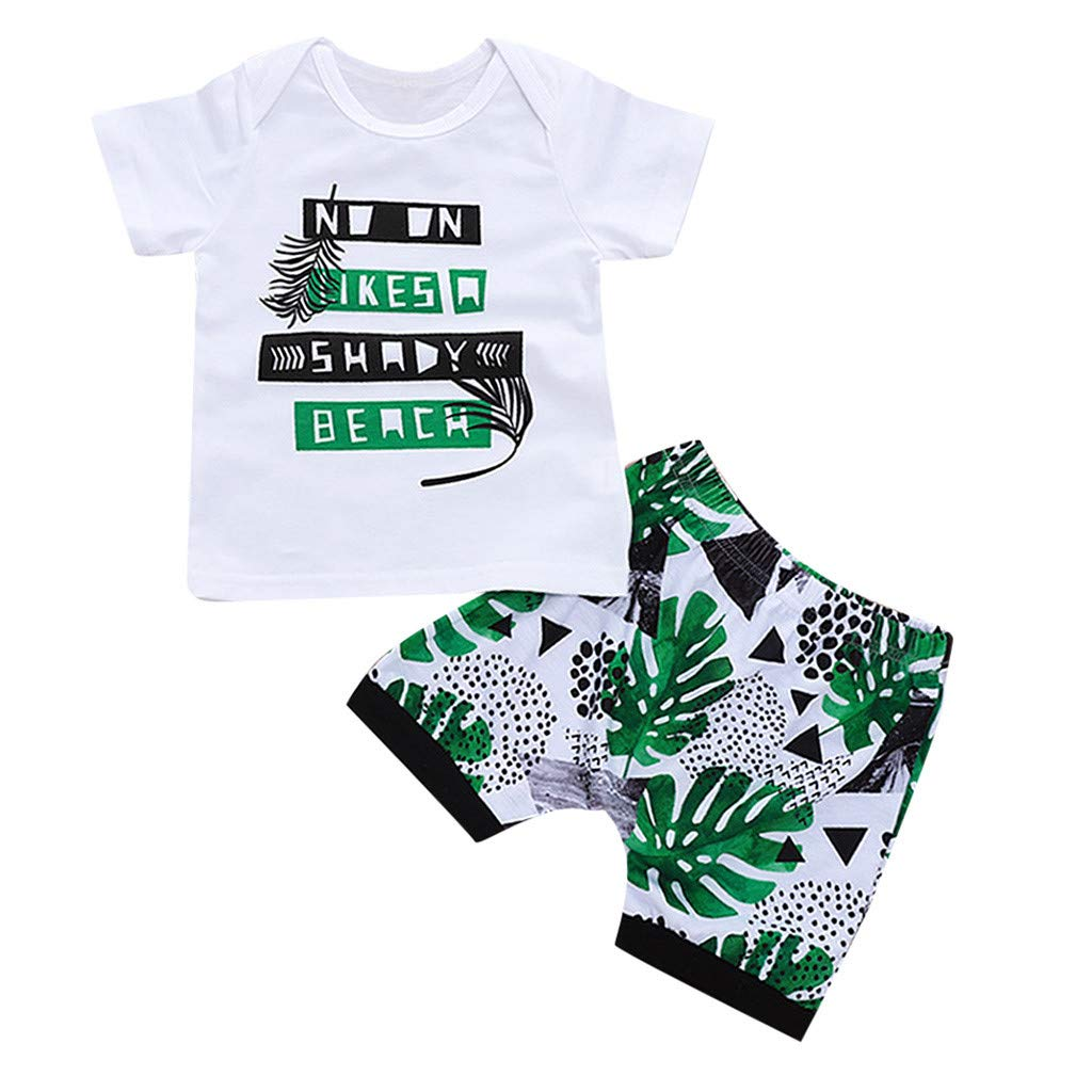 NIHAI Toddler Girls Baby Kids Short Sleeve Letter Print T-Shirt Top+Palm Leaf Print Shorts Pants 2PC Outfits Sets