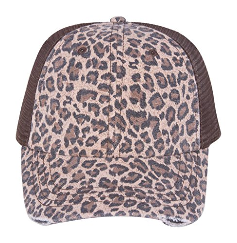 Low Profile Canvas Leopard Printed Mesh Cap
