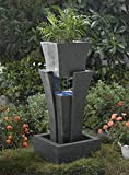 """35.4"""" LED Lighted Modern Raining Outdoor Patio Garden Water Fountain with Planter"""