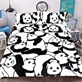 Sleepwish Panda Bear Bedding White and Black Animal Bed Set 3 Piece King Size Duvet Covers Cartoon