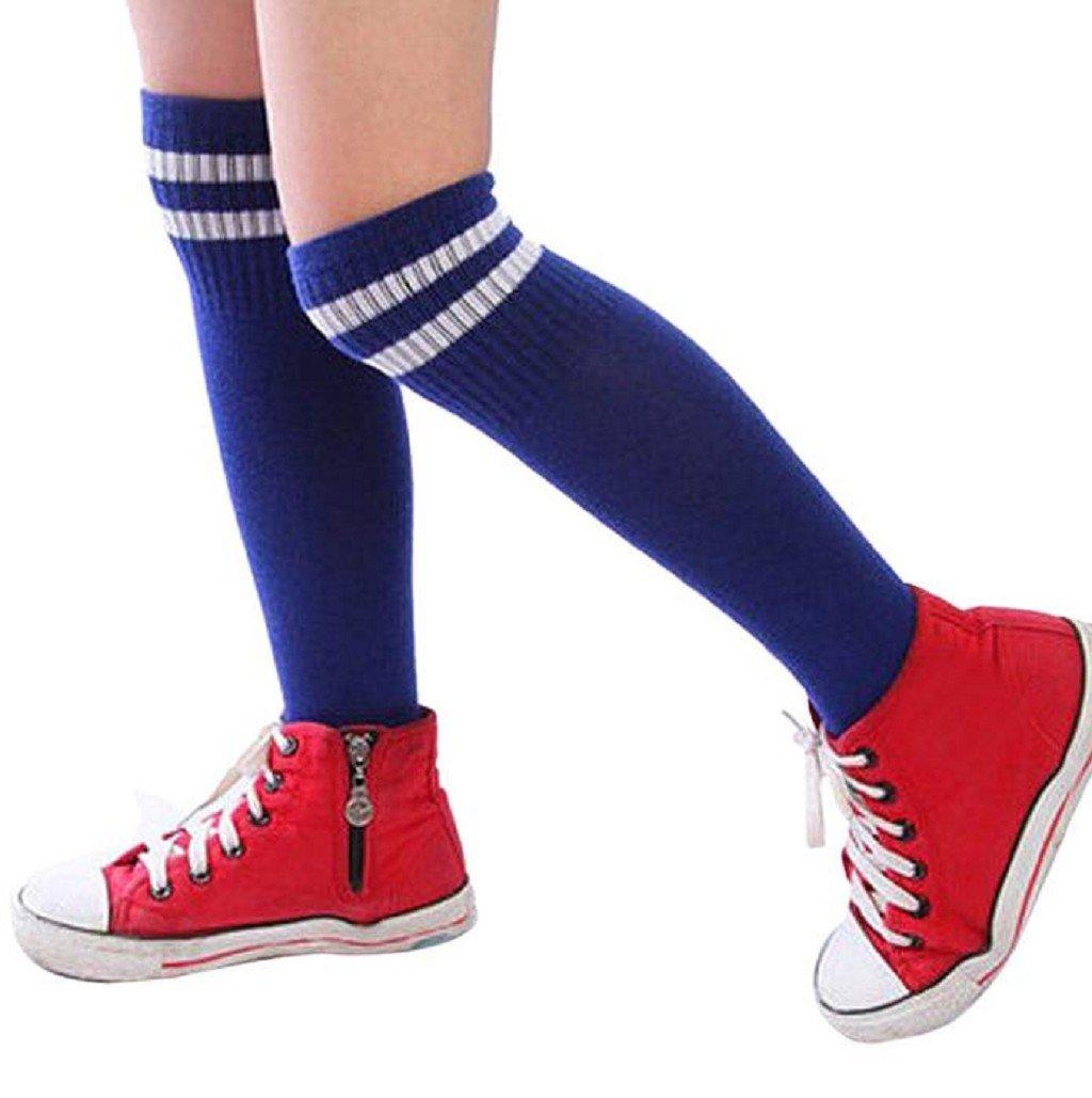 Coromose Kids Children Sport Football Soccer Long Over Knee High Socks (Blue)