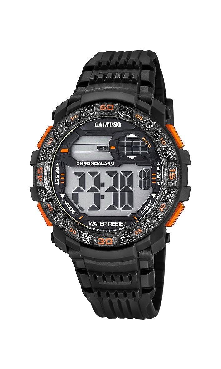 Calypso Hombre Reloj Digital con Pantalla LCD Pantalla Digital Dial y Correa de plástico en Color Negro k5702/6