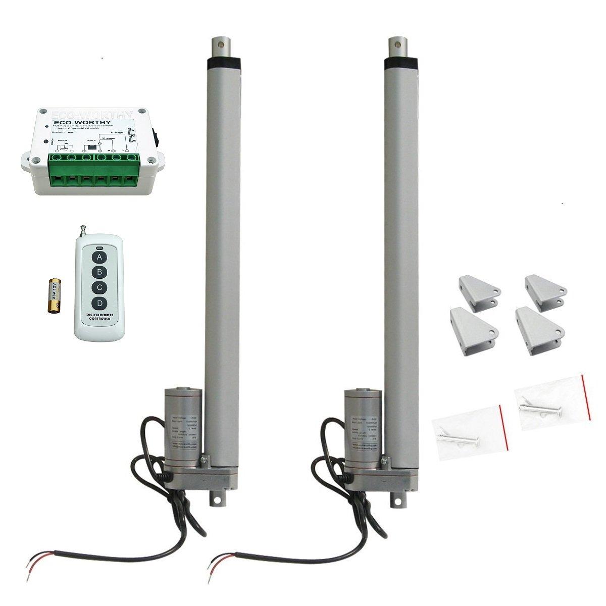 ECO-WORTHY 2pcs 14 Inch Heavy Duty Linear Actuator 12V 1500N Motor + Wireless Remote Controller + Brackets L11TGF12V350HW-T2C-2