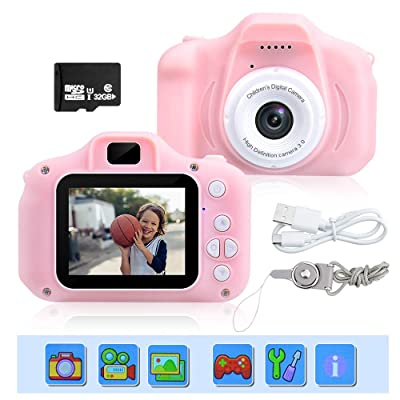 Kids Mini Camera Children Digital 8MP Little Lens Cameras 32GB DIY Camcorder Action Video Recorder Birthday / Christmas / New Year Gift: Toys & Games