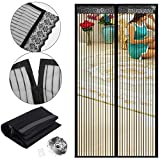 Magnetic Screen Door Fits Door Size up to 34'-82', Emwel Magnets Shut Automatically Instant Bug Door Mesh Curtain, Easy Installation No Gap Guard Protective Net Netting