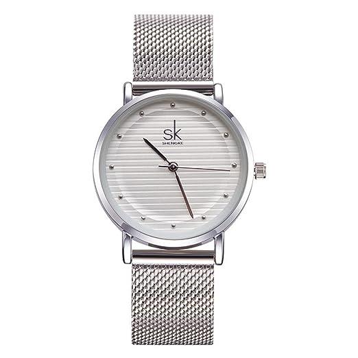 SHENGKE - Reloj de pulsera para mujer de cuarzo y sumergible, con correa de malla de acero inoxidable, regalo de moda, ideal para negocios, 2017: Amazon.es: ...