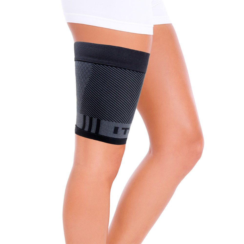 OrthoSleeve QS4 Thigh Bracing Sleeve with Built-in ITB Brace (One Sleeve) for thigh pain, hamstring weakness and ITB syndrome (Xlarge)