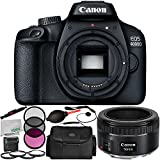 Canon EOS 4000D Digital Camera with 50mm f/1.8 STM Lens 9PC Accessory Kit – Includes 3PC Filter Kit (UV + CPL + FLD) + 4PC Macro Filter Set (+1,+2,+4 +10) + MORE - International Version (No Warranty)