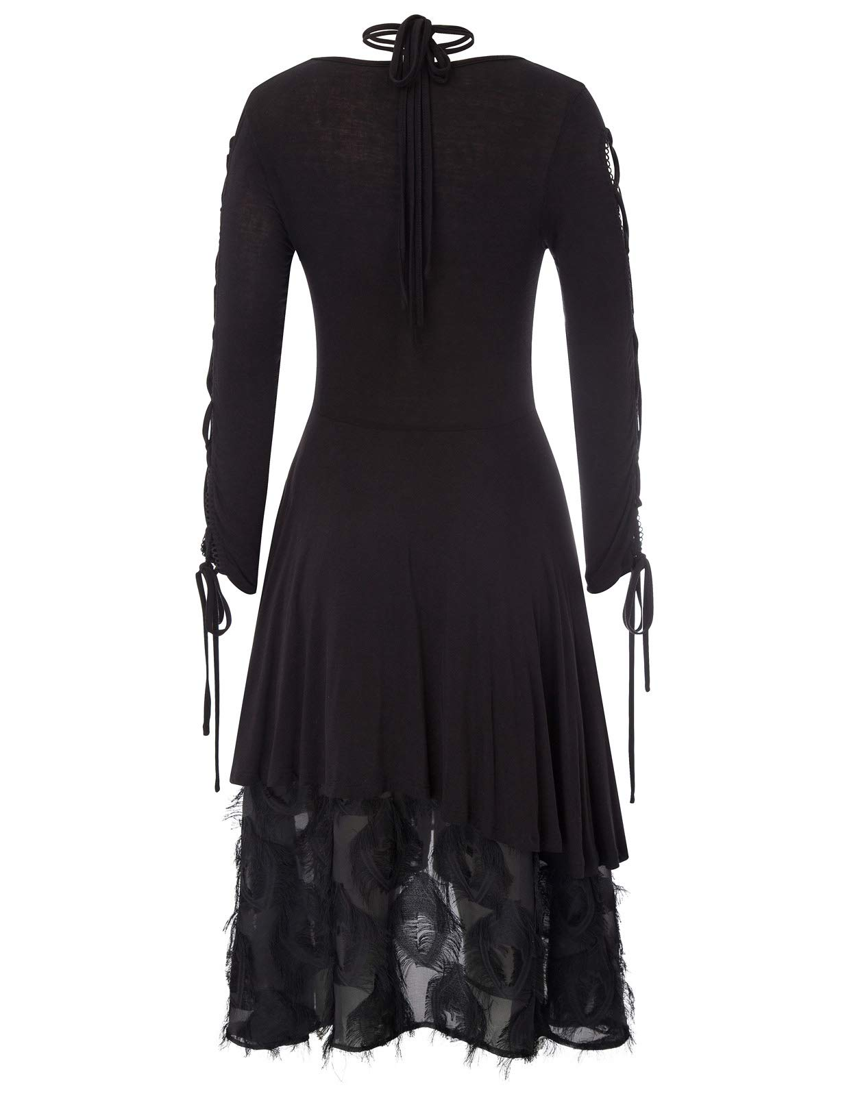 Women Gothic Dress Steampunk Victorian Lace Tie Neck Witch Quirky Dresses 4