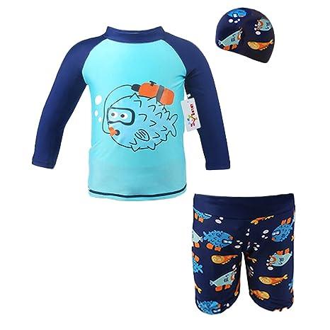 Niño Trajes de baño 3 piezas Beachwear Camisetas Bañadores con tapa bañador Vine (Altura 80-130 CM)