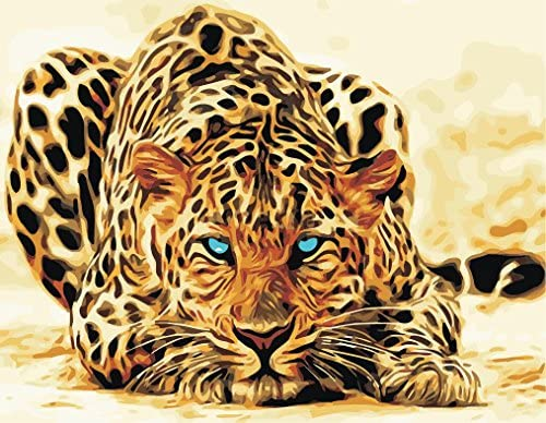 Diy Pre Printed Canvas Oil Painting Gift For Adults Kids Paint By Number Kits With Wooden Frame For Home Decor Blue Eyes Leopard 16 20 Inch