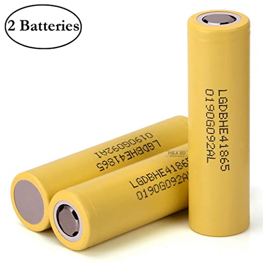 LG IMR18650 HE4 High Drain Li-ion 3.7V 20A 2500mAh Rechargeable Flat Top Battery, (2 Pcs) by M&A BD Electronics