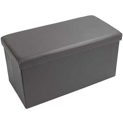 Grande Otomano plegable caja de almacenaje manta Toy reposapiés con ...