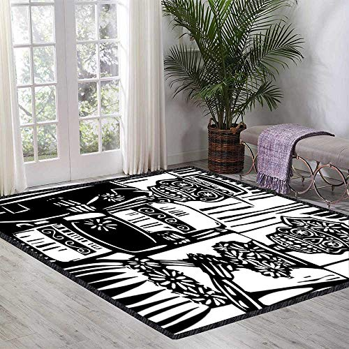 Day of The Dead Room Carpet Woodcut Style Skeleton Couple Wedding in Cemetery Image with Bride Groom Kid Game Carpet 47.24 Inch x 70.86 Inch Black White]()
