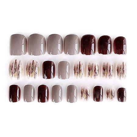 Buleerouy - Juego de 24 uñas postizas acrílicas para mujer ...