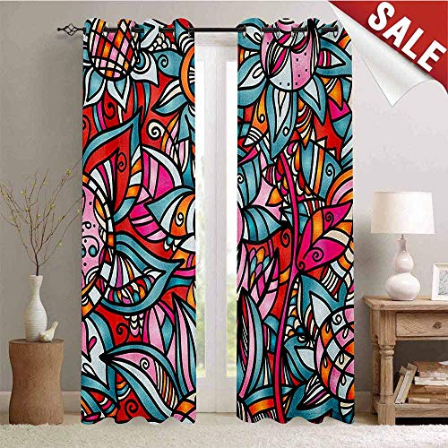 Abstract, Room Darkening Wide Curtains, Colorful Florals Sunflower Mosaic Curl Ornaments Stained Glass Inspired Design, Waterproof Window Curtain, W108 x L108 Inch Multicolor ()