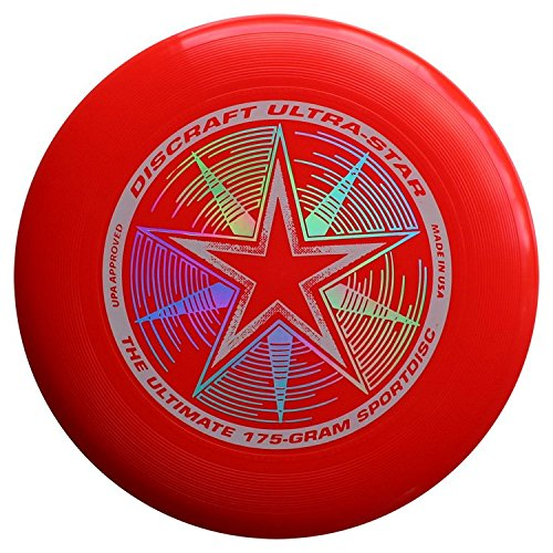 Frisbee Player (Discraft 175 gram Ultra Star Sport Disc  175g Ultra Star Sport Disc, Bright Red)