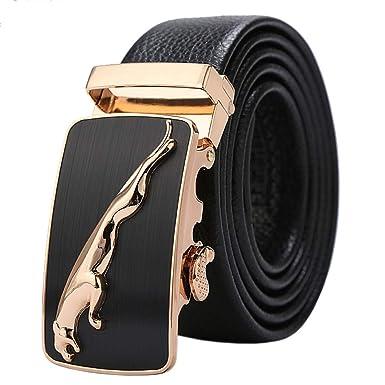 7b6f32e165b7 Hommes Ceinture En Cuir Véritable Jaguar Business Suits Casual Boucle  Réversible Avec Cliquet Automatique, Noir