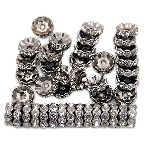 jennysun2010 Czech Crystal Rhinestone 18K Gunmetal Plated 6mm Clear Round Rondelle Wavy Edge Spacer Beads 100pcs per Bag for Bracelet Necklace Earrings Jewelry Making Crafts Design (Gunmetal Plated)