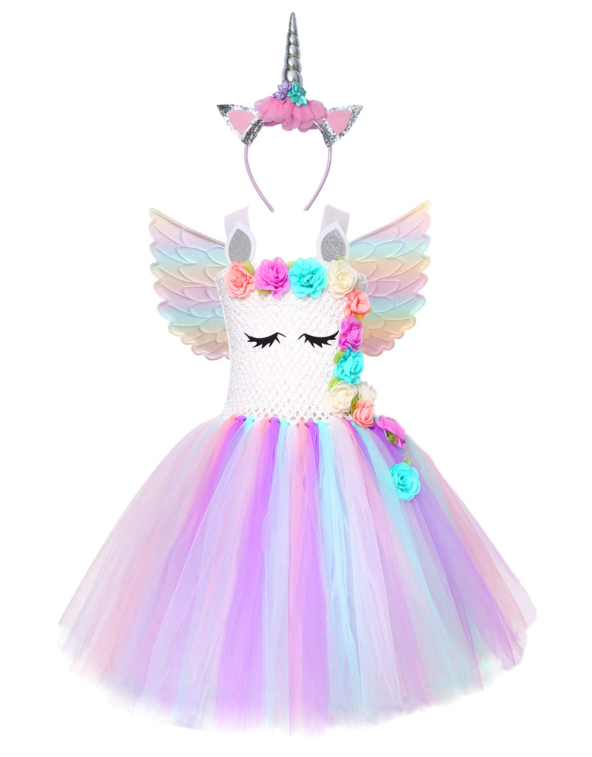 Cuteshower Girl Unicorn Costume, Baby Unicorn Tutu Dress Outfit Princess Party Costumes with Headband and Wings (5-6 Years, White) by Cuteshower