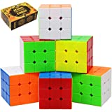 Speed Cube 6 Pack Magic Cube 3x3x3 Cube; Easy Smooth Turning Stickerless Anti-Pop Structure and Durable Puzzle Toys for All Age Kids and Adults, Professional Plays
