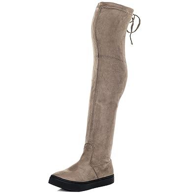 Spylovebuy Karoo Damen Schnür Flache Overknee Stiefel  Amazon.de ... cdd02fbe5b