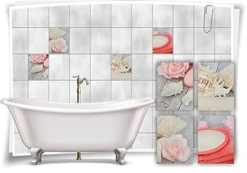 Fliesenaufkleber Fliesenbild Muschel Rosa Handtuch Pastell Rosa - Rosa fliesen bad