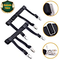 Luxsego 2Pcs Shirt Stays for Men & Women, Adjustable Elastic Garter Belts with Non-slip Locking Clamps for Suit, Dress or Uniform Including Military or Police