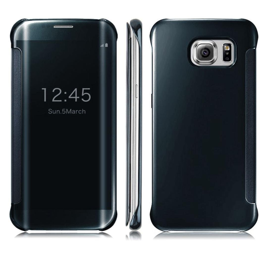 Malloom® Clear View Espejo Voltear cubierta elegante funda para Samsung Galaxy S6 Edge plus (azul marino)