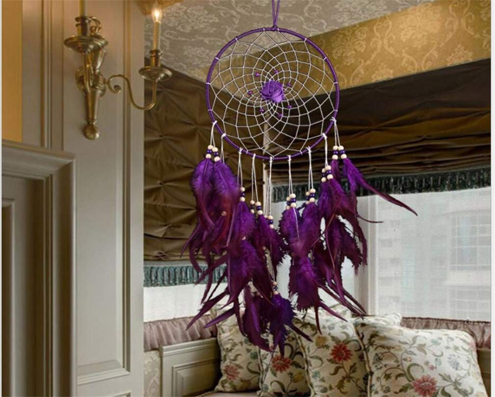 Seek4comfortable Dream Catcher Large Indian Circle Wind Chimes Purple Feather Traditional Style Pendant Wall Hanging Home Decoration Decor Ornament Gift(Purple)