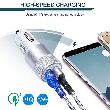 Car Charger, Ailkin 3.4a Portable Dual Port USB Cargador Carro Fit Lighter Spot Socket Adapter for iPhone 11 Pro Max 11 Pro 11 X XR XS Max 8 Plus 7s ...