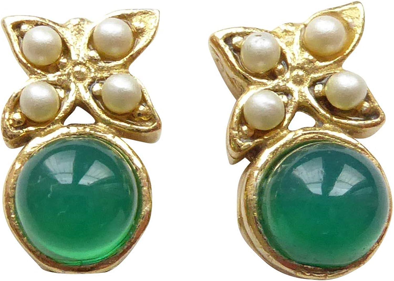 Pequeños y divertidos pendientes de ágata, color verde, perlas de agua dulce, plata chapada en oro, hechos a mano, únicos, regalo para mujeres o cumpleaños