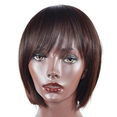 Peluca realista natural -40cm Bobo Peluca recta corta Pelo marrón oscuro con flequillo oblicuo Pelo