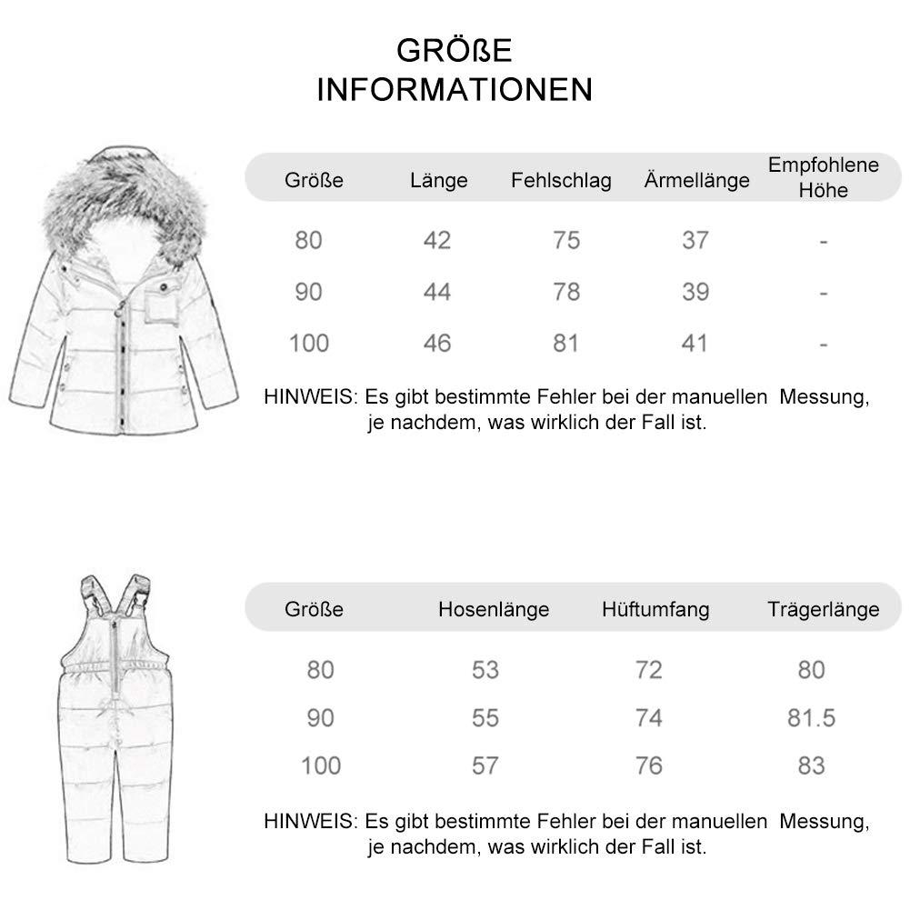 Zoerea M/ädchen Daunenjacke S/ü/ß Daunenanzug Kaputze 2tlg Bekleidungsset Punkte Verdickte Winterjacke+Winterhose