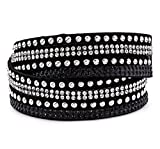 Silver & Post Women's Black Genuine Leather Wrap Bracelet with Crystals from Swarovski, Gift Box Included