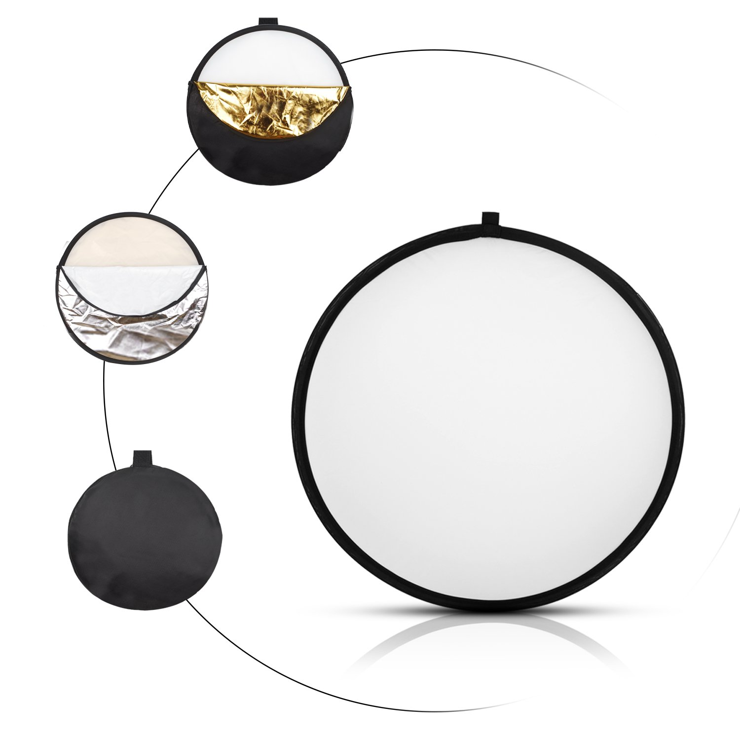 Kamisafe 32-inch/80cm 5 in 1 Portable Collapsible Multi-Disc Photography Studio Light Reflector with Carry Bag - Translucent, Silver, Gold, White and Black