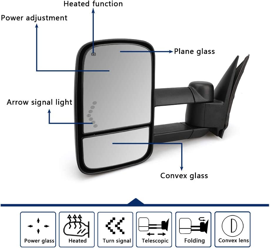 Towing Mirrors Towing Mirrors for Chevy Silverado/GMC Sierra 1500 ...