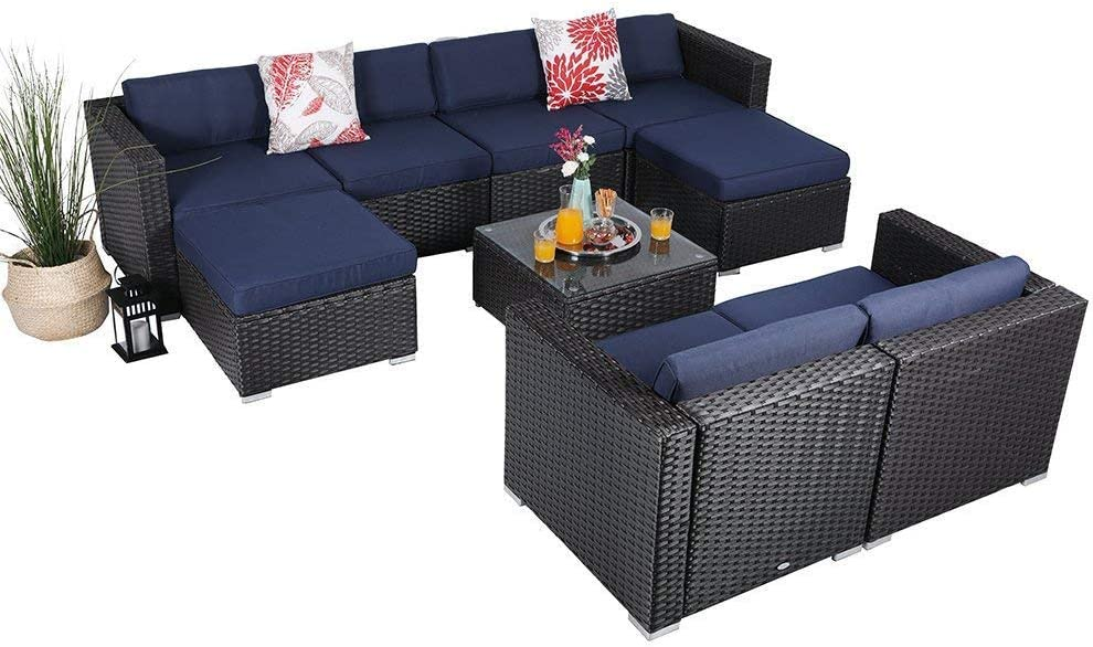 PHI VILLA 9 Pieces Outdoor Patio Furniture Sets - All Weather Patio Rattan Sectional Sofa Set with Cushions and Glass Table (Blue)
