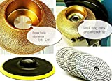 3/8 Inch Diamond Demi / Roundover Bullnose Router Bit Profile grinding wheel 4'' Polishing Pad 14+1 stone glass ceramic granite marble concrete terrazzo work with grinder wet polisher countertop renew