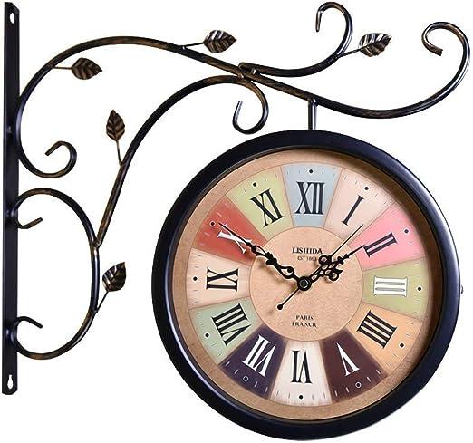 CQ Retro Único Reloj de Hierro Forjado Mudo Europeo de Doble Cara Números Romanos Reloj Jardín Sala de Estar Reloj de Pared Reloj Craft Reloj de Dos Lados Que cuelga: Amazon.es: Hogar