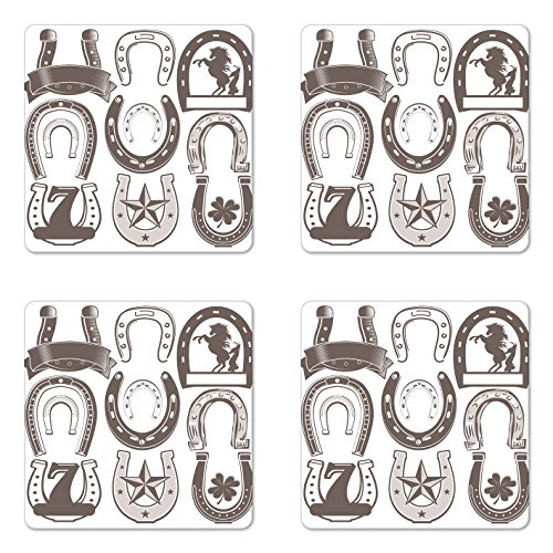 Lunarable Horseshoe Coaster Set of Four, Horseshoe Collection Spirituality Plant Symbolism Belief Faith Clip Metal Star, Square Hardboard Gloss Coasters for Drinks, Taupe Beige