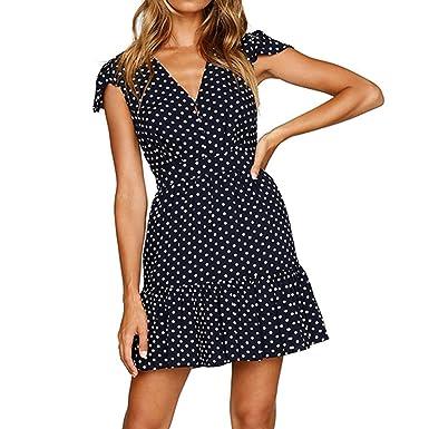 Misaky Womens Summer Polk Dot Dress V Neck Button Loose Summer Casual Dress (S,
