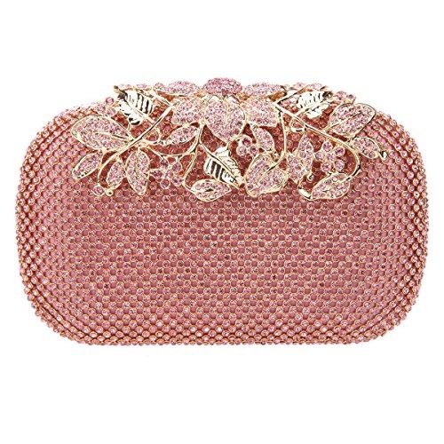 Fawziya Flower Purses With Rhinestones Crystal Evening Clutch Bags-Pink
