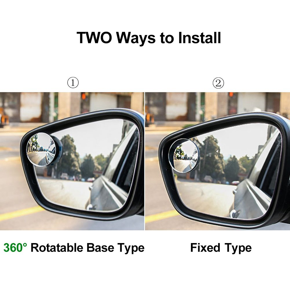 "Blind Spot Mirrors, 2"" Round Convex HD Glass Rear View Mirror, Wide Angle Side Car Door Mirror with 360 Degree Rotatable, for All Car Driving Safety(2 Pack)"