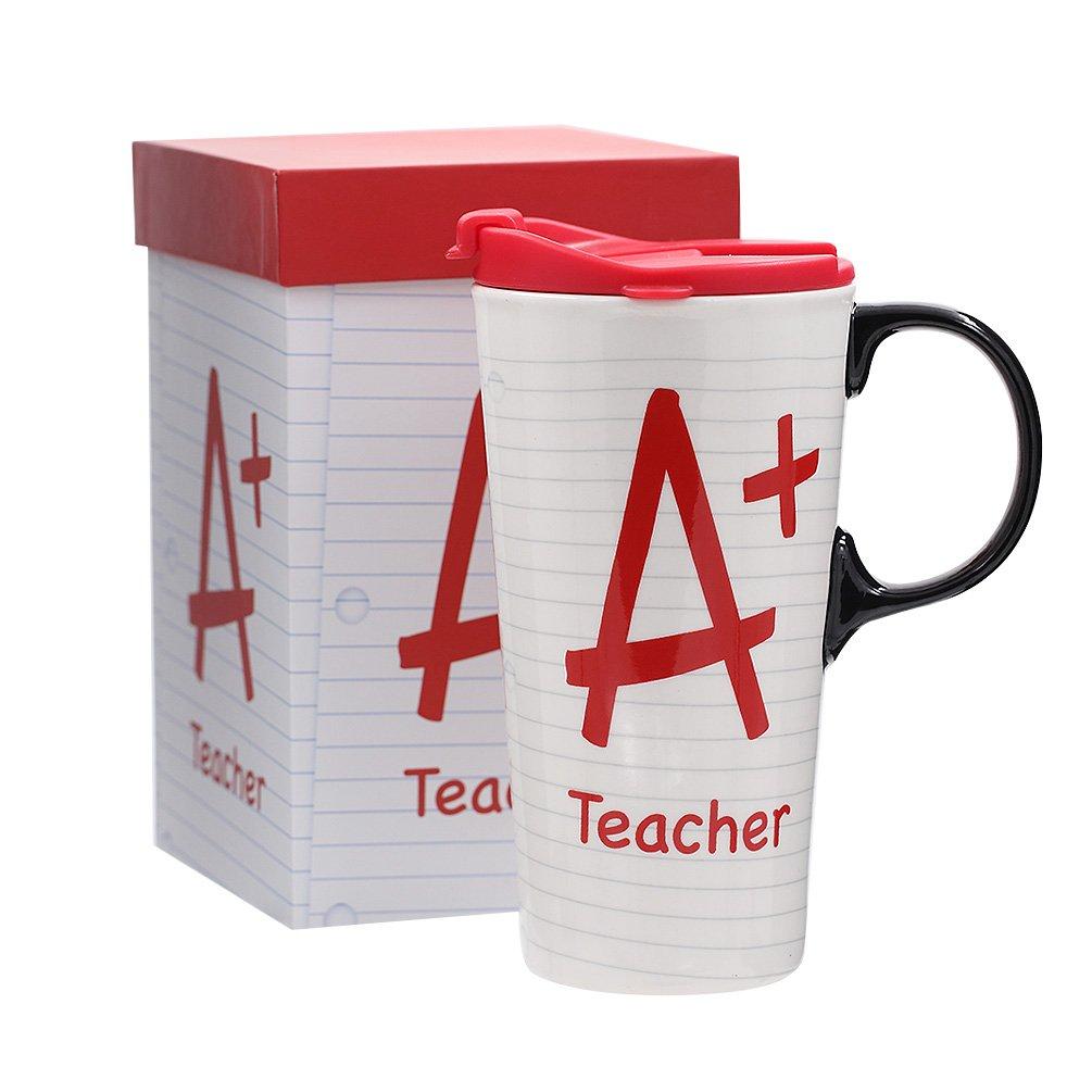 17oz Tall Ceramic Travel Mug Dishwasher Safe with Sealed Lid (A+ Teacher)