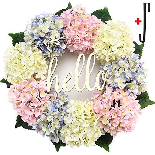 Hydrangea Wreath for Front Door Spring Wreaths and Wreath Hanger,Door Decor,Autumn Wreath,Front Door Wreath,Farmhouse Wreath,Rustic Wreath,Grapevine Wreath,Window Decoration (18 inches) -